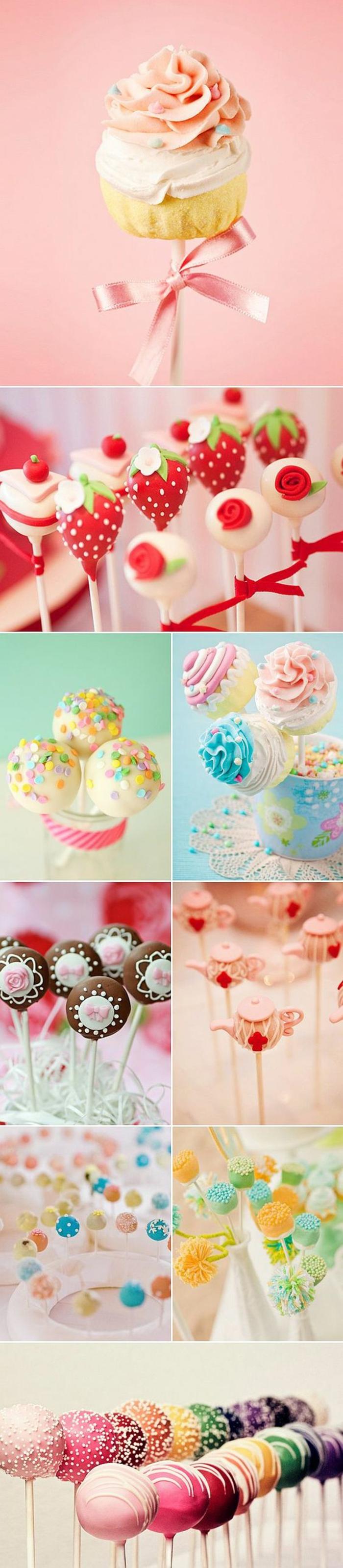 cake pops rezepte, kuchenbällchen mit fondant und sahne dekorieren