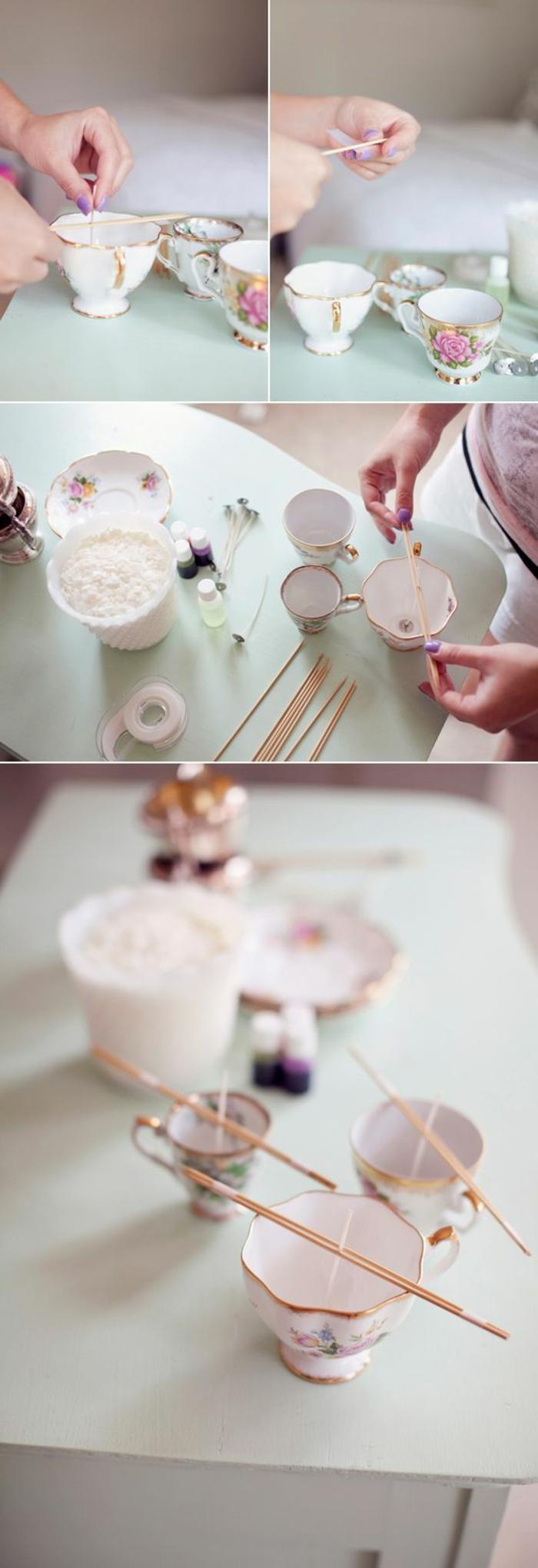 kerzen selber machen - kerze in kaffeetasse gießen