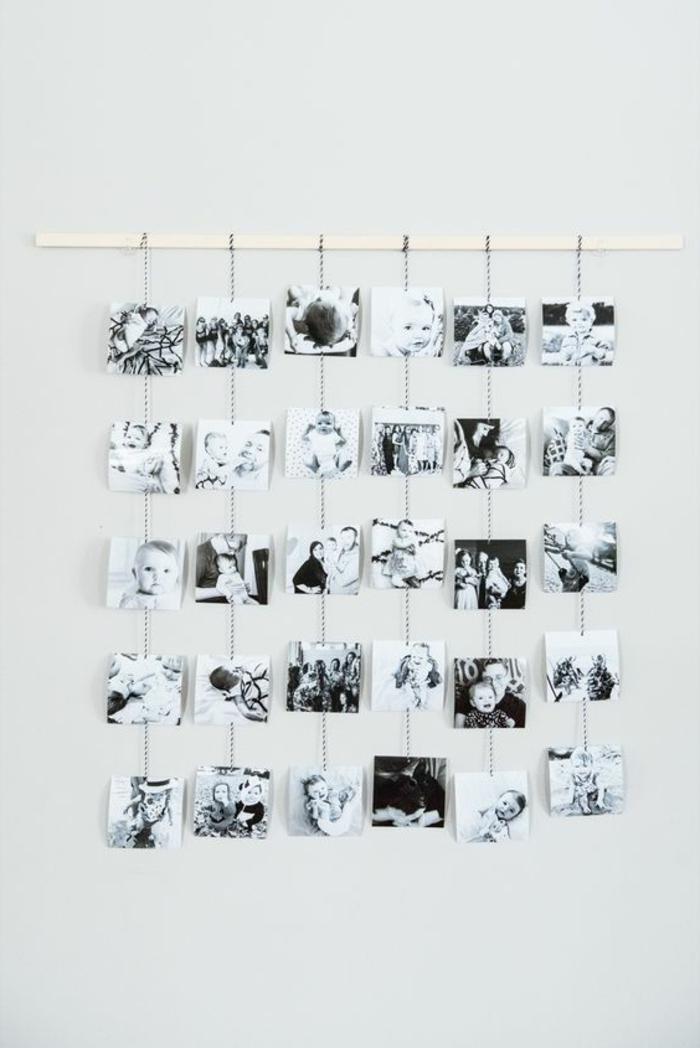 untypische Bilderwandgestaltung mit kleinen schwarz-weißen Bildern
