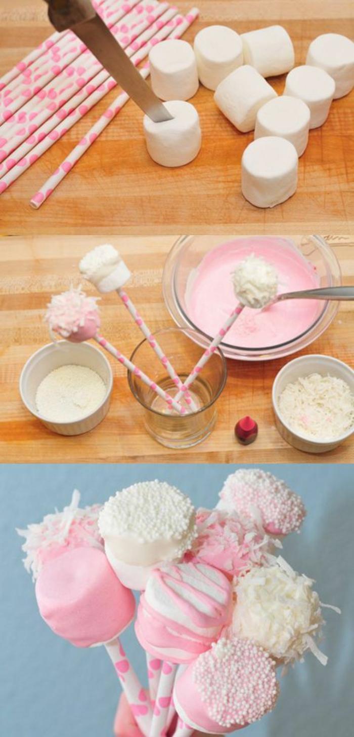 nachtisch aus marshmallow, rosa glasur und kokos