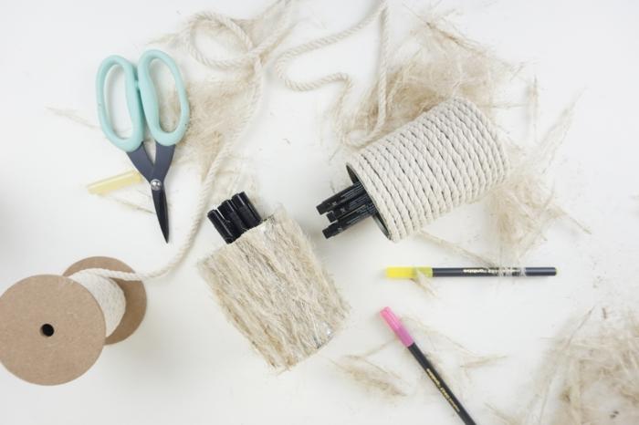 Anleitung zum Selbermachen, alte Blechdosen zu Bleistifthalter, was sie brauchen, Upcycling Ideen zum Selbermachen