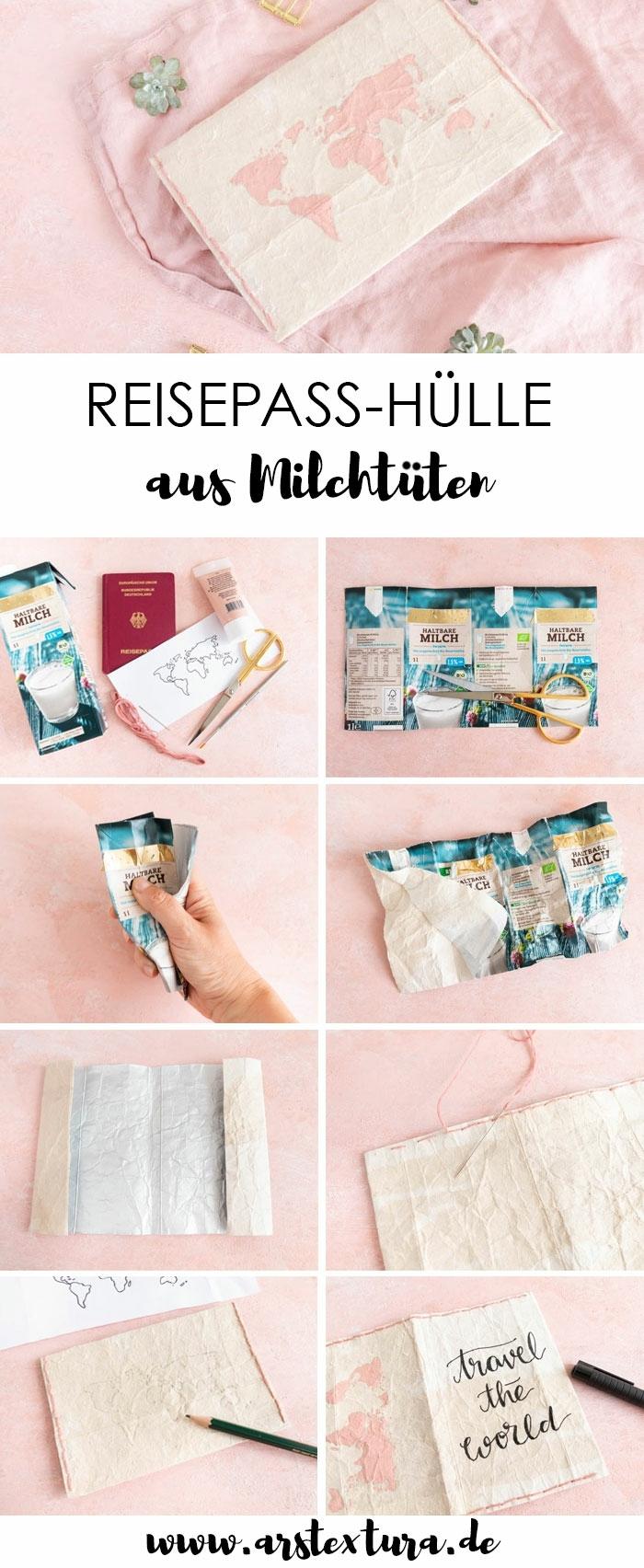 Hülle für den Reisepass aus Milchtüte, kreative Ideen, Anleitung zum Selbermachen, Weiterverwendung von Verpackungen