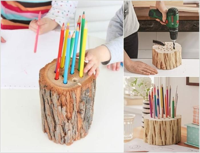 Upcyclin Projekt mit Kindern, Bleistifthalter Idee aus einem Baumstumpf, Anweisung zum Selbermachen