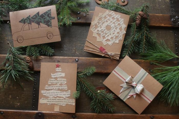 Weihnachtskarten selbstgemacht, aus Buchseiten, verschiedene Figuren wie Tannenbaum, Upcycling Ideen einfach