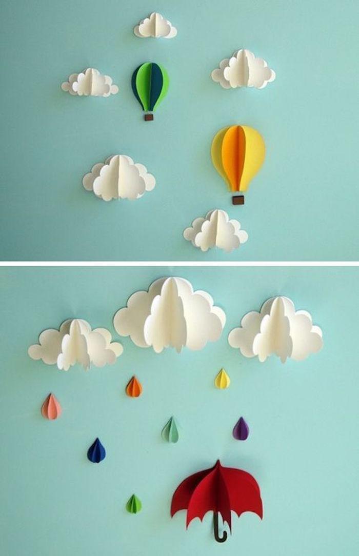 kreative Deko Idee, Figuren für die Wand aus Papier basteln, Wolken, Regeschirme