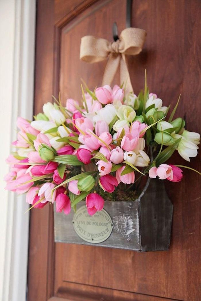 Kreative Deko Idee, Kranz- Blumentopf, Tulpen