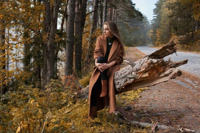 Damenstiefel braun leder Mantel braun Herbst Outfit