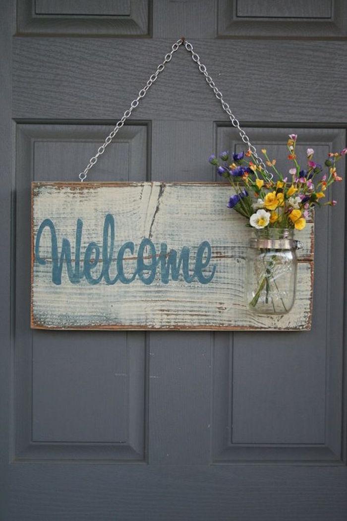 Kreative Deko Idee, Willkommen Schild mit Vase