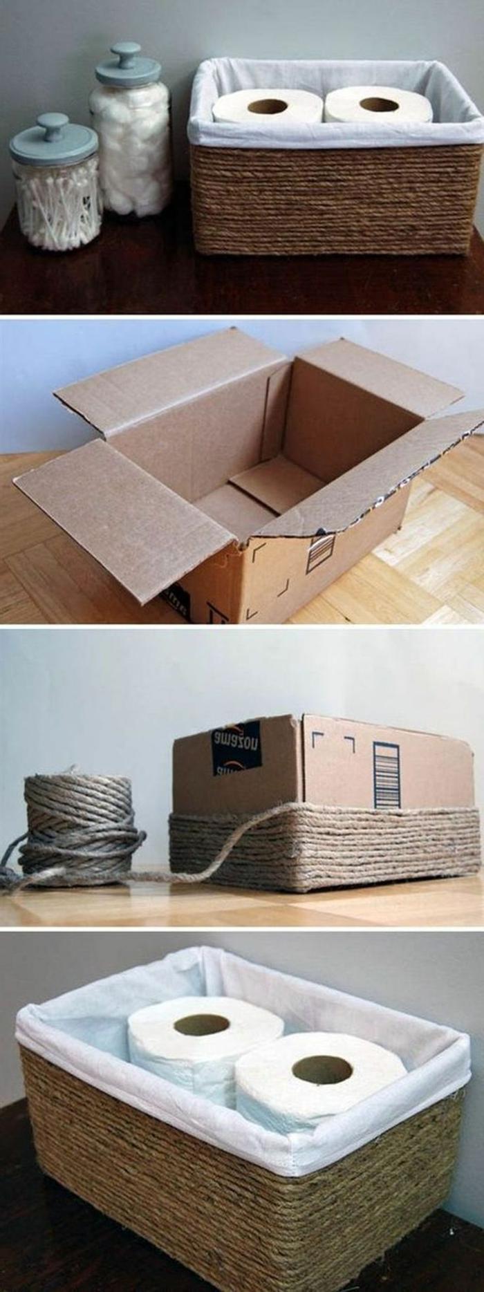Alte Box Upcycling zu Korb mit Seil für Toilettenpapier, Anleitung zum Selbermachen, aus alt mach neu