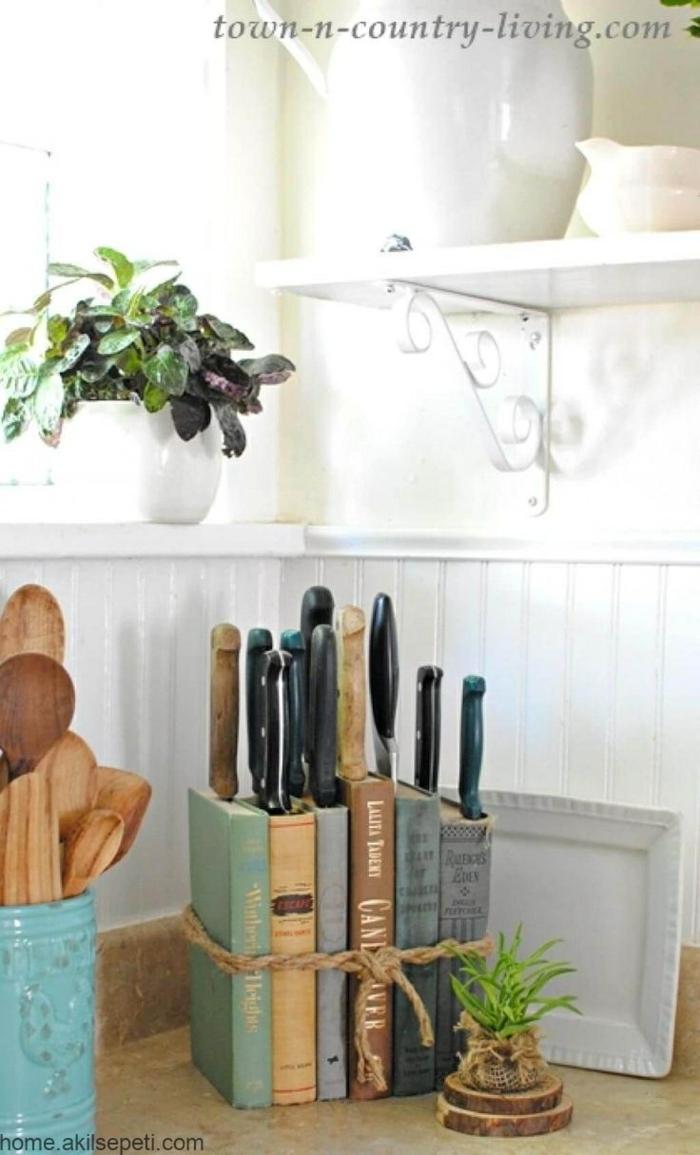 Bücher als Messerblocker verwenden, Zubehör für die Küche, upcycling Ideen zum Selbermachen