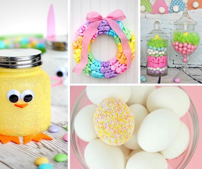 Deko Idee, Ostereier, gelbes Hähnchen, Kranz, Süßigkeiten, Osterhasen