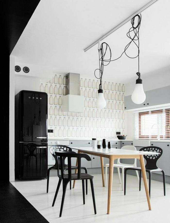 modernes Raumdesign monochrome Farben schwarzes Textilkabel