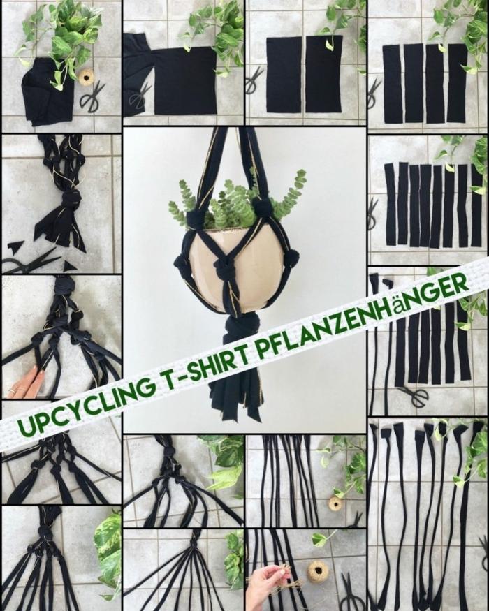Anleitung zum Selbermachen, altes T-Shirt in schwarz zum Pflanzenhänger, Upcycling Mode,