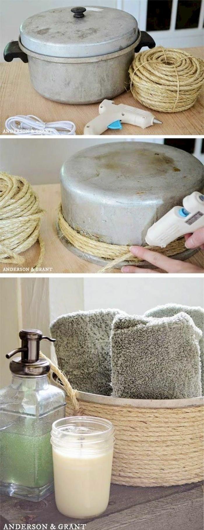 DIY Anleitung, alter Topf zu Korb mit Baumwollseil, Upcycling Ideen zum Selbermachen, Kreative Ideen