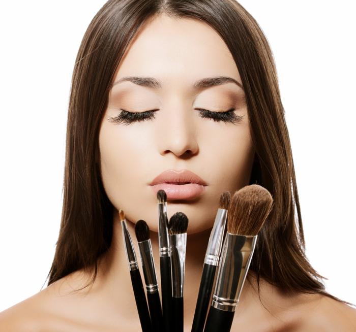 natürliches augen make up pinsel set für perfektes gesicht sich schminken mit pinseln größe