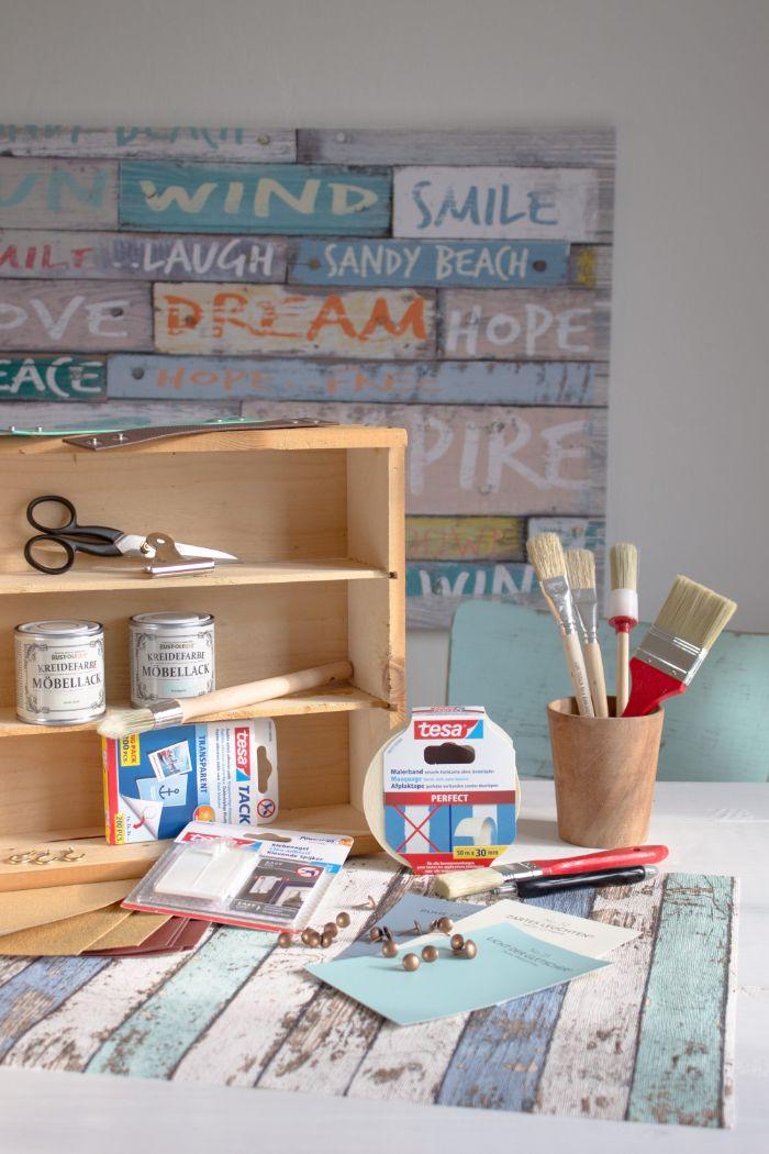 basteln mit kindern, dekor ideen für die wand, das brauchen sie, materialien vorbereiten, bastelanleitung mit schere, kleber und holzkasten