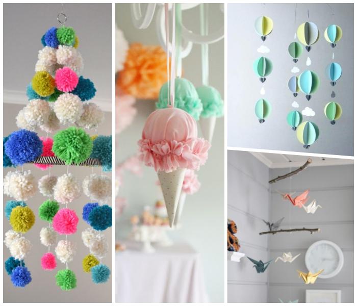 baby mobile basteln, anleitungen und ideen, diy deko für zuhause, origami figuren, escreme