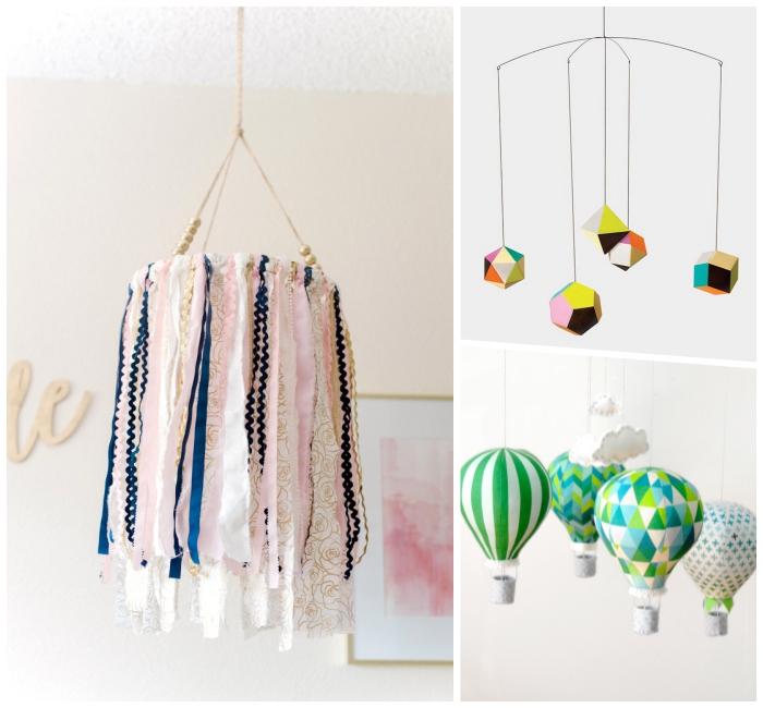 baby mobile basteln, deko für das babyzimmer, diy bastelideen, heißluftballons aus stoff nähen