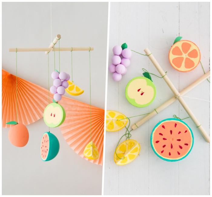 baby mobile basteln, früchte aus styropor, sommerparty ideen, partydeko selber machen