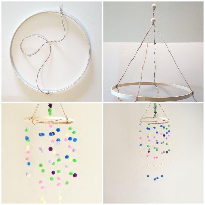 baby mobile basteln, weißer ring, bunte mini pompons, hängende deko anleitung