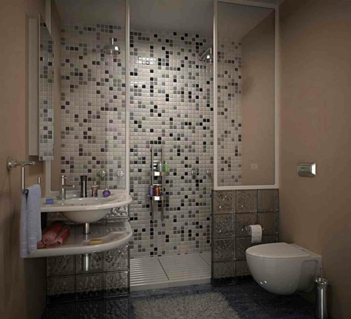 Mosaikfliesen in drei Farben - Badfliesen Ideen - Duschkabine aus Glas mit zwei Duschen