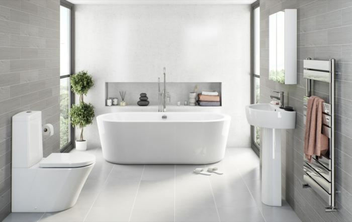 skandinavisches Bad - schlichte Fliesen Badezimmer Beispiele für Wellness