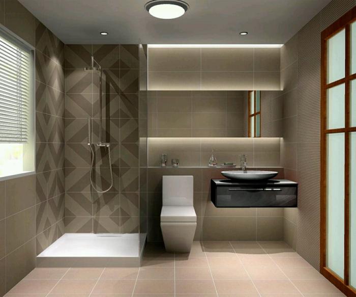 ausgefallene Fliesen Badezimmer Beispiele - ein Akzent für die Duschkabine - geometrische Forme