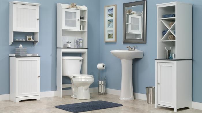 bad einrichtungsideen blaue wände und weiße badmöbel wc waschbecken spiegel