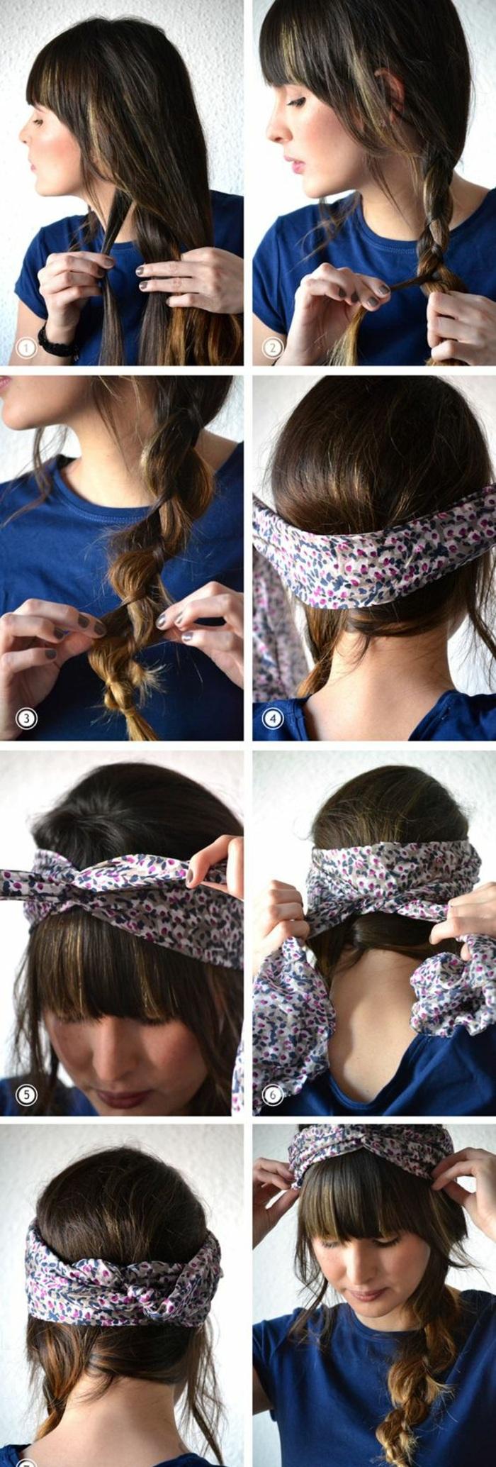 frisuren mit haarband zum selber machen, blaues t-shirt, frisur mit zopf