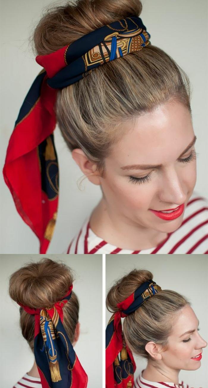 dutt-frisur, blonde haare hochstecken, rotes lippenstift, gestreifte bluse