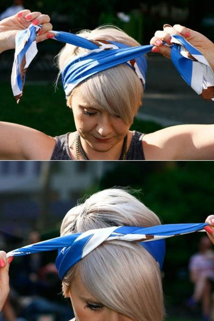 kurze, glatte, blonde haare, bandana binden