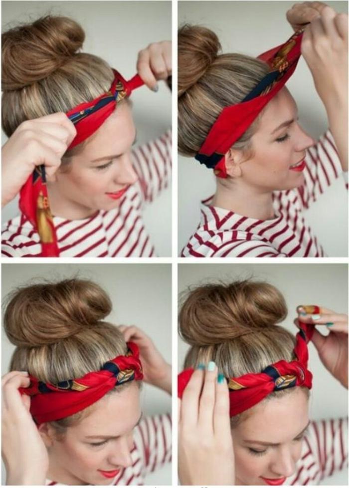 dame mit blonden haaren, dutt frisur mit duttkissen und bandana
