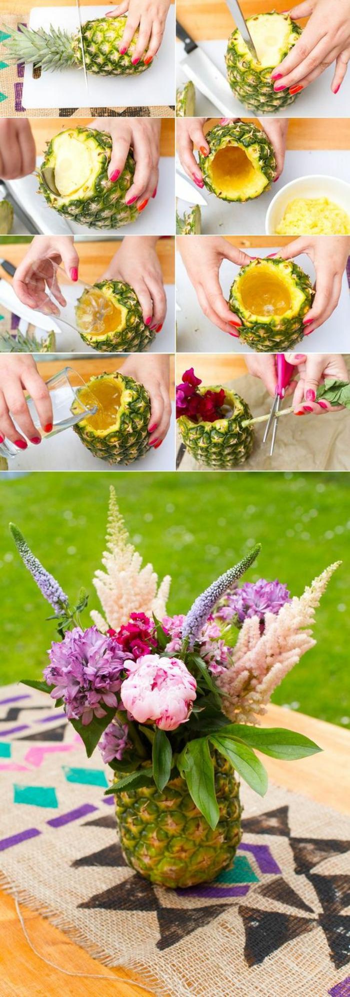 frühlingsdeko basteln, vase aus ananas mit blumen, tischdeko selber machen