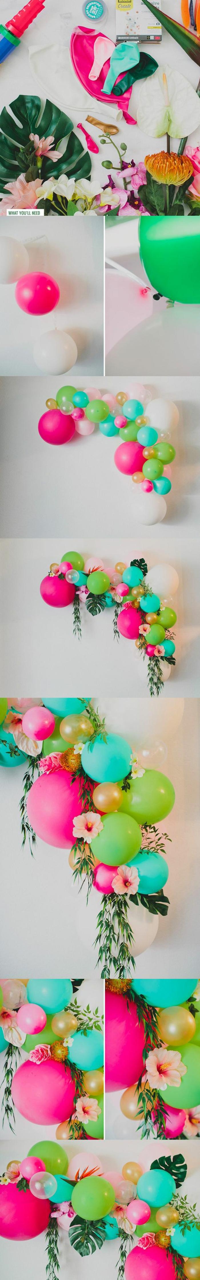 frühlingsdeko basteln, wanddeko aus ballons, blumen und blättern