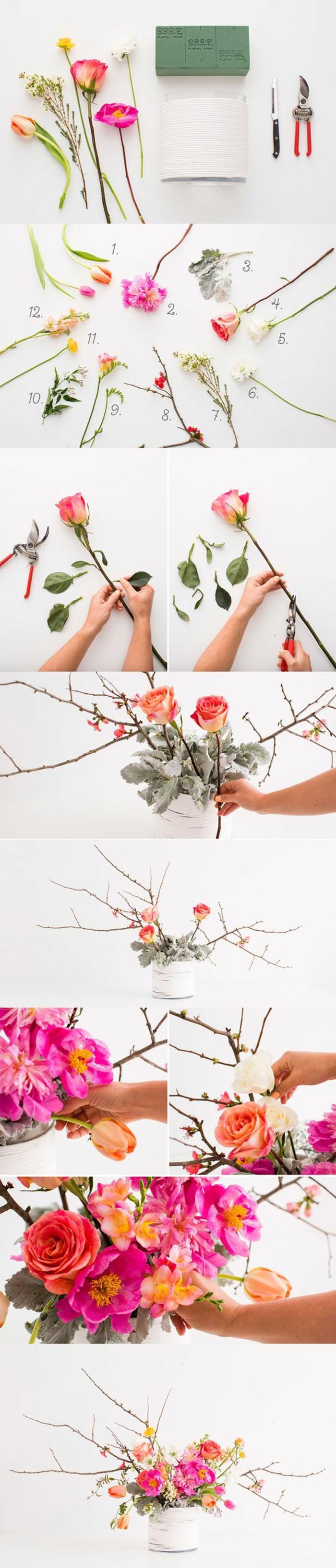 frühlingsdeko basteln, weiße vase, rosa blumen, zweige, tischdeko