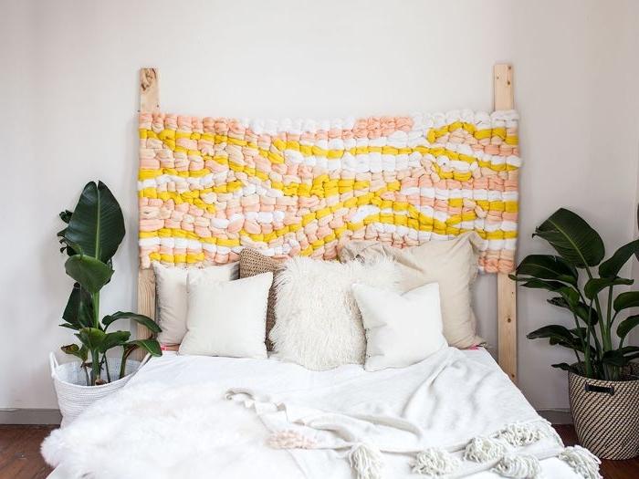 bastelideen für kinder und erwachsene, bettdeko bunter muster, deko selber machen ideen, pflanzen