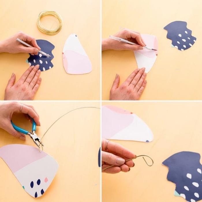basteln für babys, figuren aus papier ausschneiden, diy bastelideen für zuhause, babyizimmer deko