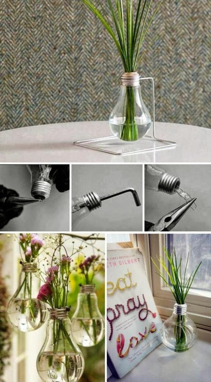 selbstgemachtete vase aus birne, pflanze draht, blumen