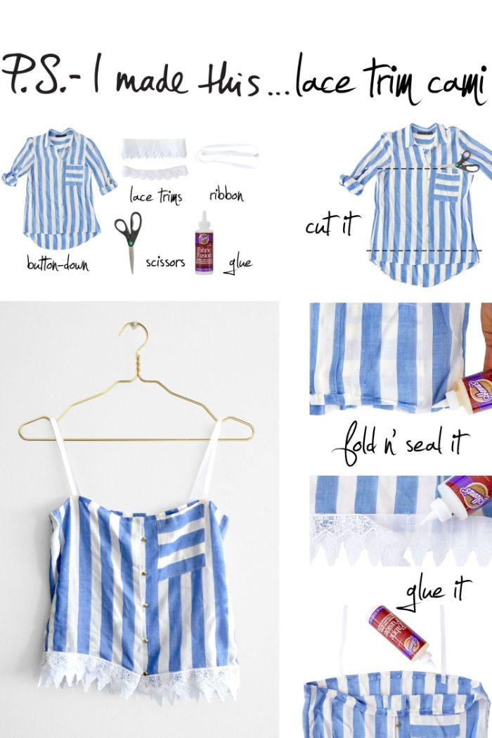 aus alt mach neu, hemd weiß und blau zu top machen, spitze weiß deko am top