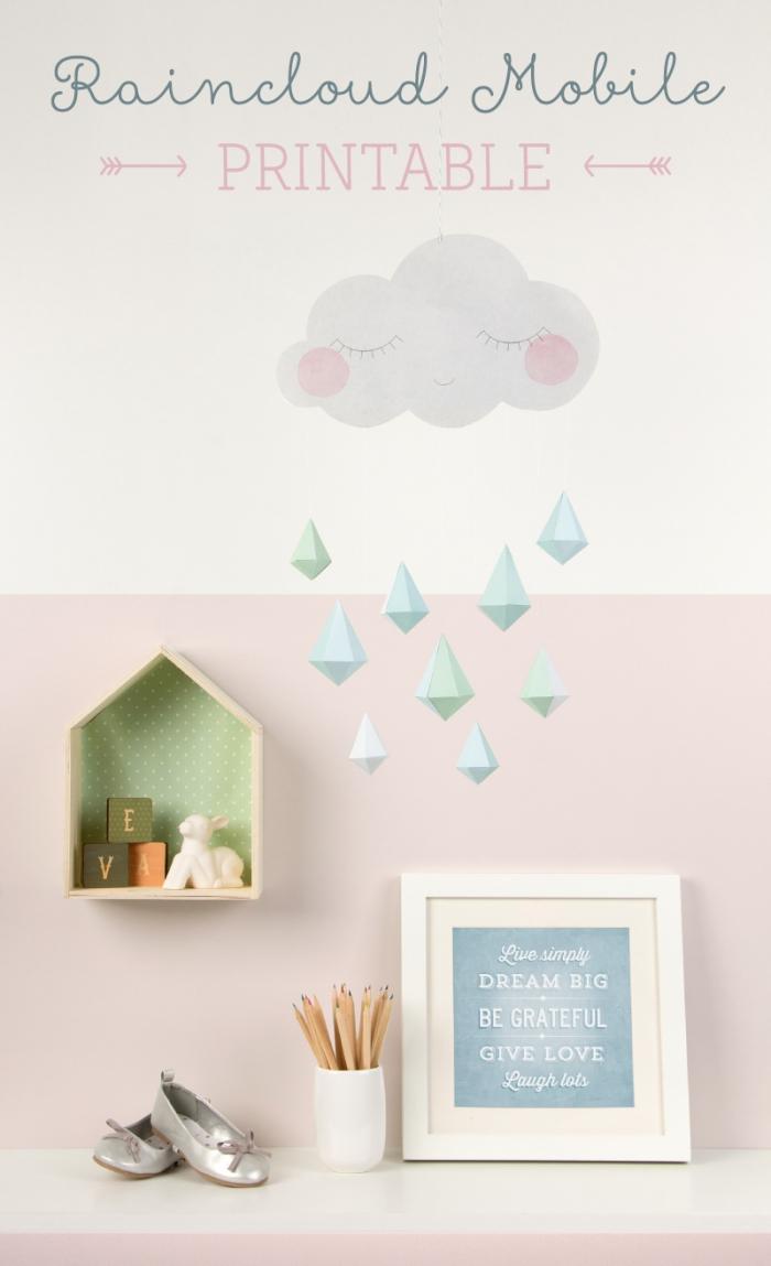 wolke mit 3d tropfen, kinderzimmer deko ideen, basteln mit papier anleitung kostenlos, regen