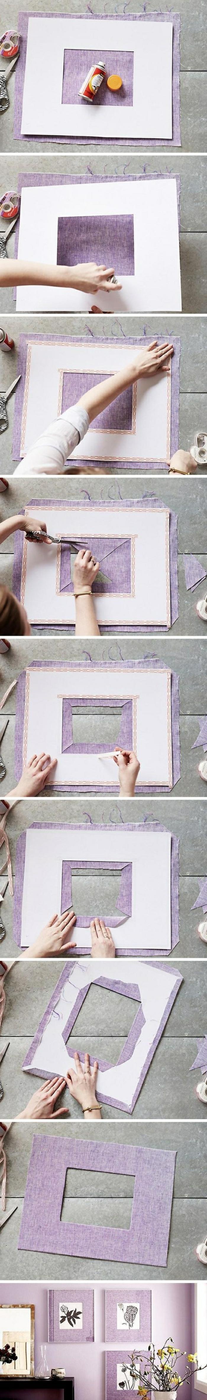 fotorahmen basteln aus lila papier, fotos, fotowand