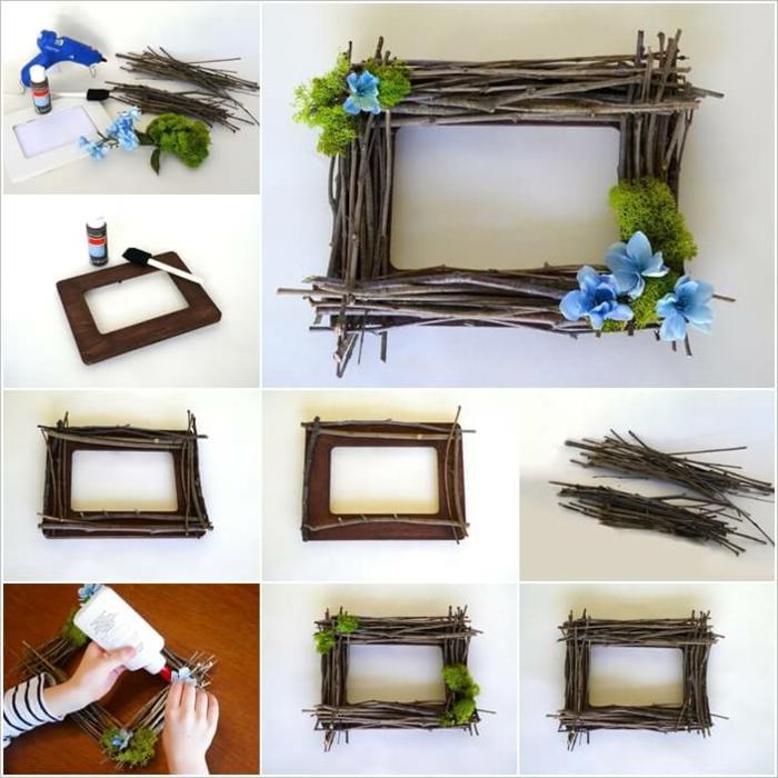 fotorahmen mit kleinen ästen und blauen blumen dekorieren