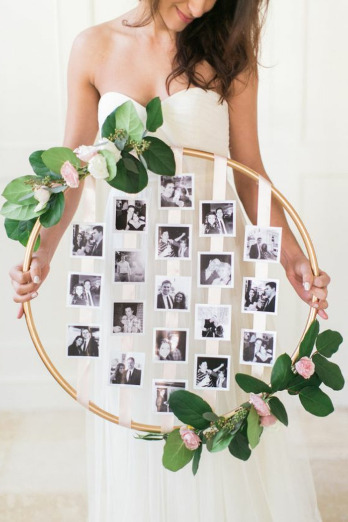 fotowand selber machen, schwarz-weiße fotos, braut, weißes kleid, blumen