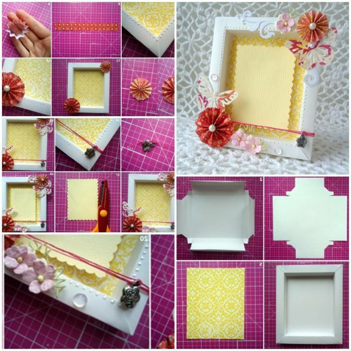 weißer fotorahmen aus karton, blumen aus papier