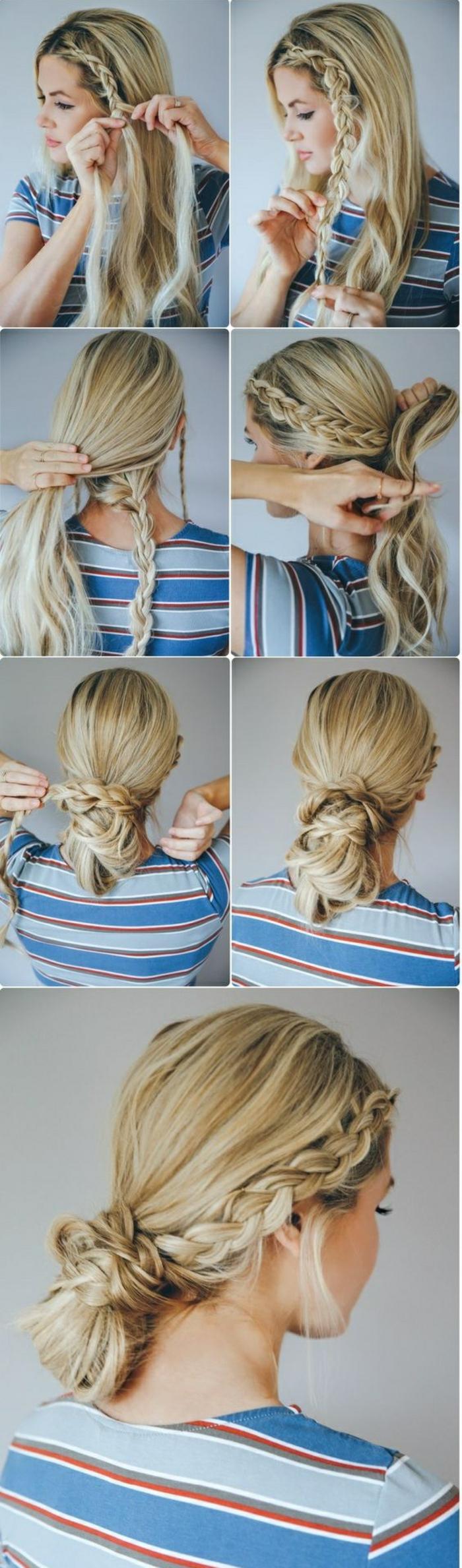blaue bluse, blonde haare flechten, flechtfrisur mit zöpfen