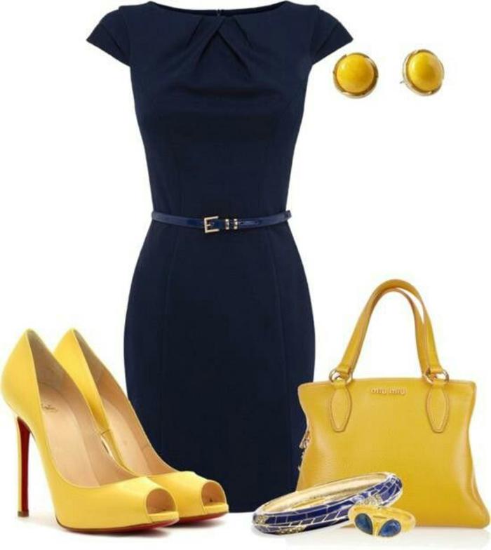 business kleid in schwarz, kombination mit gelb, klassiker mit guertel