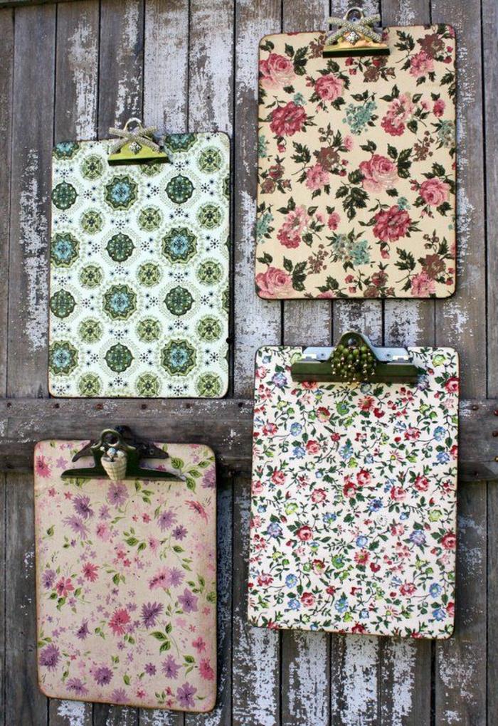 clipbord - ideen für serviettentechnik mit servietten mit pinken und lila blumen