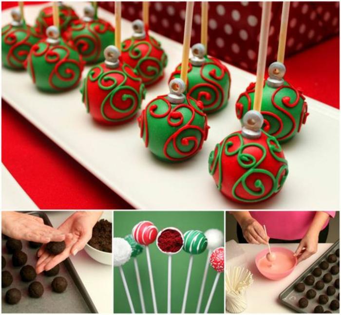 cake pops-weihnachtskugeln in grün und rot selber machen