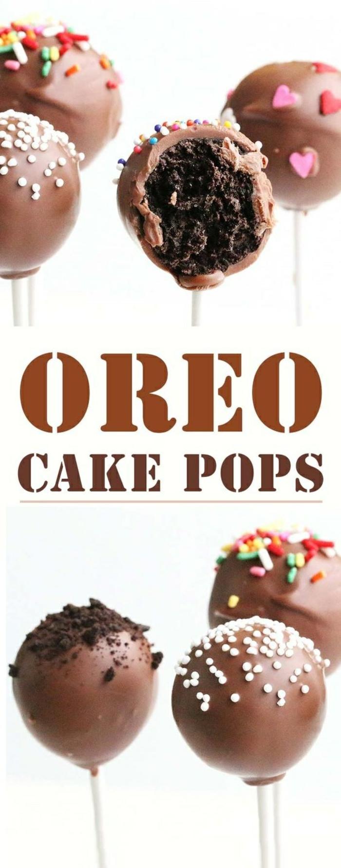 kuchen am stiel mit glasur aus schokolade dekoriert mit zuckerperlen