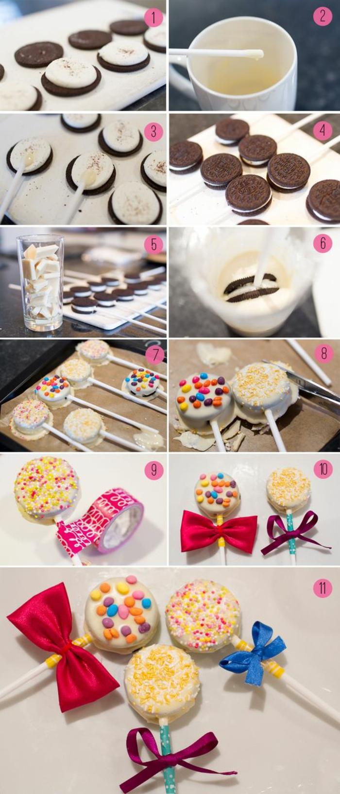 pop cookies - oreo-kekse mit glasur aus weißer schokolade